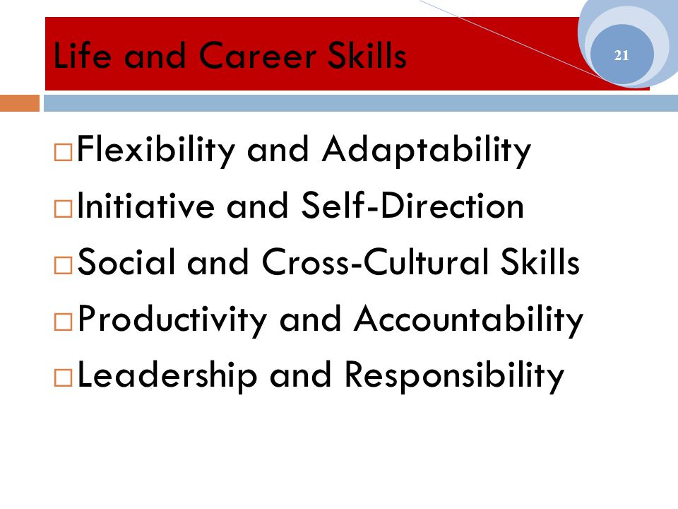 Life and Career Skills  Flexibility and Adaptability  Initiative and Self-Direction  Social and Cross-Cultural Skills  Productivity and Accountability  Leadership and Responsibility 21