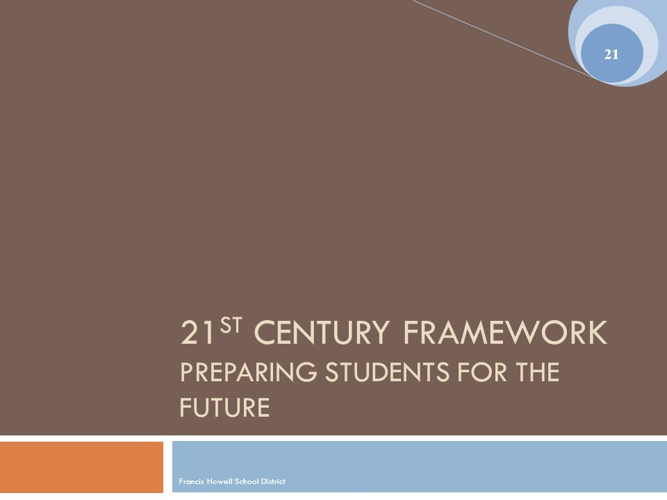 21 ST CENTURY FRAMEWORK PREPARING STUDENTS FOR THE FUTURE Francis Howell School District 21