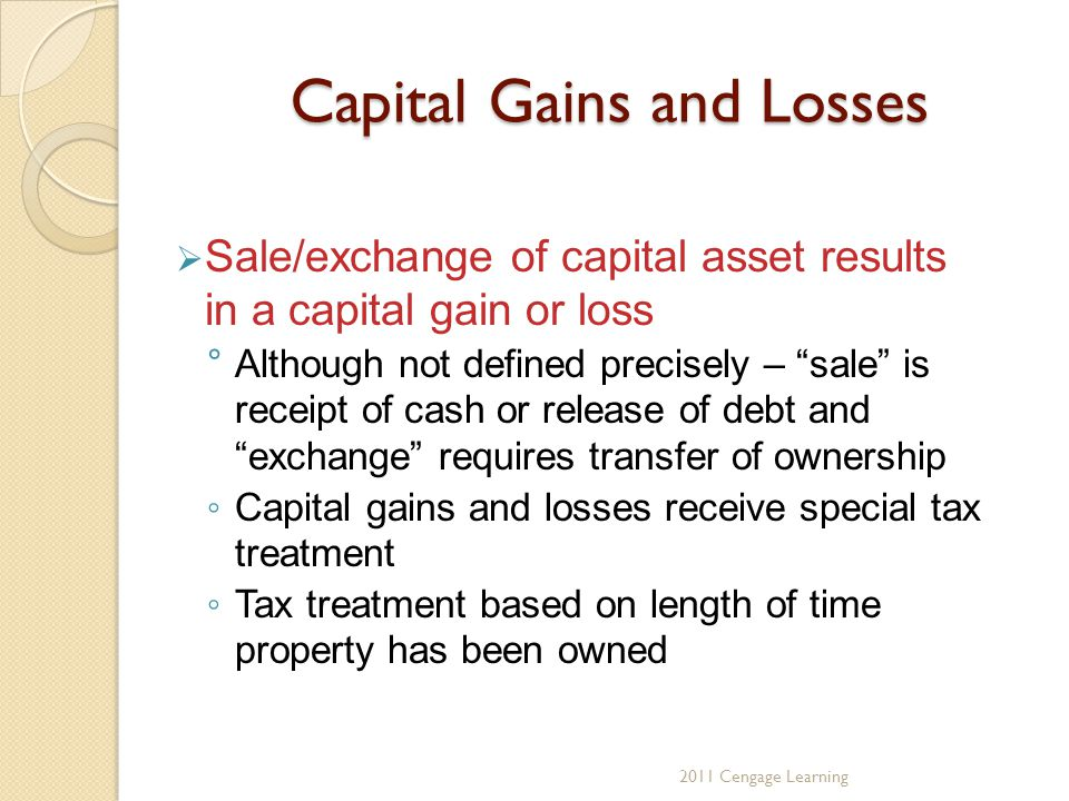 Capital Gains and Losses  Sale/exchange of capital asset results in a capital gain or loss °Although not defined precisely – sale is receipt of cash or release of debt and exchange requires transfer of ownership ◦ Capital gains and losses receive special tax treatment ◦ Tax treatment based on length of time property has been owned 2011 Cengage Learning