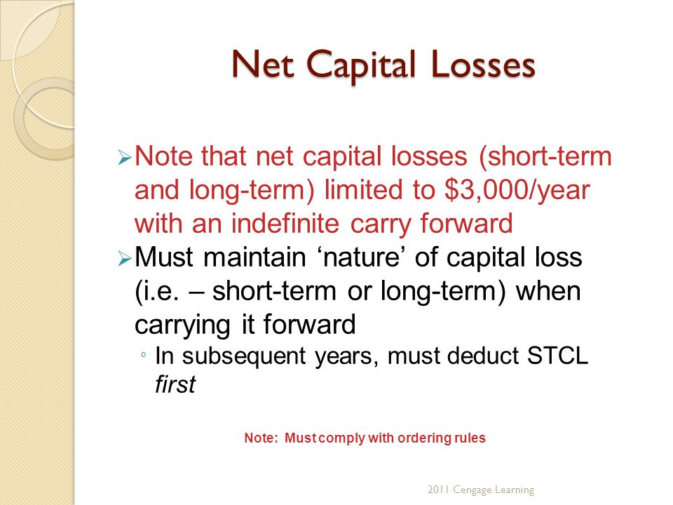 Net Capital Losses  Note that net capital losses (short-term and long-term) limited to $3,000/year with an indefinite carry forward  Must maintain 'nature' of capital loss (i.e.