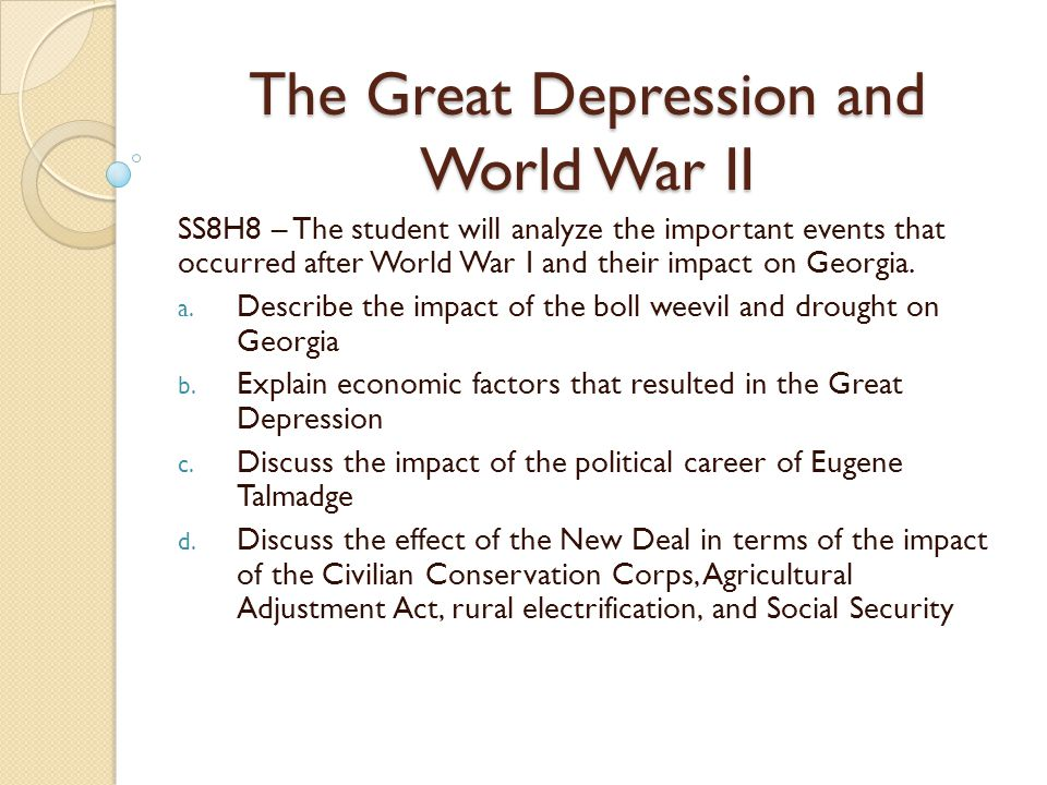 How did the Depression help WW2?