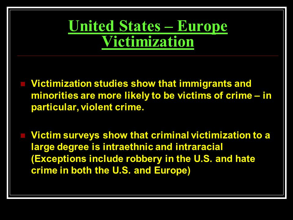 crime and victimzation Vera's center on victimization and safety it excludes the victimization of people with disabilities, who are at particular risk of serious violent crime, i.