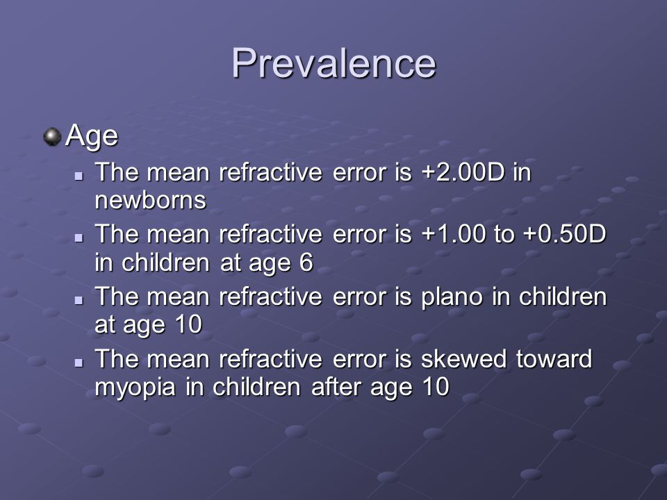 Prevalence Age The mean refractive error is +2.00D in newborns The mean refractive error is +2.00D in newborns The mean refractive error is to +0.50D in children at age 6 The mean refractive error is to +0.50D in children at age 6 The mean refractive error is plano in children at age 10 The mean refractive error is plano in children at age 10 The mean refractive error is skewed toward myopia in children after age 10 The mean refractive error is skewed toward myopia in children after age 10