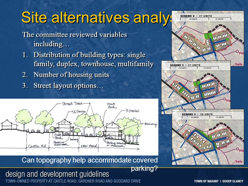 Site alternatives analysis The committee reviewed variables including… 1.Distribution of building types: single family, duplex, townhouse, multifamily 2.Number of housing units 3.Street layout options… The committee reviewed variables including… 1.Distribution of building types: single family, duplex, townhouse, multifamily 2.Number of housing units 3.Street layout options… Can topography help accommodate covered parking
