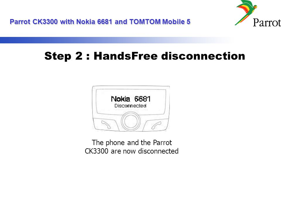 Step 2 : HandsFree disconnection The phone and the Parrot CK3300 are now disconnected Parrot CK3300 with Nokia 6681 and TOMTOM Mobile 5 Parrot CK3300 with Nokia 6681 and TOMTOM Mobile 5