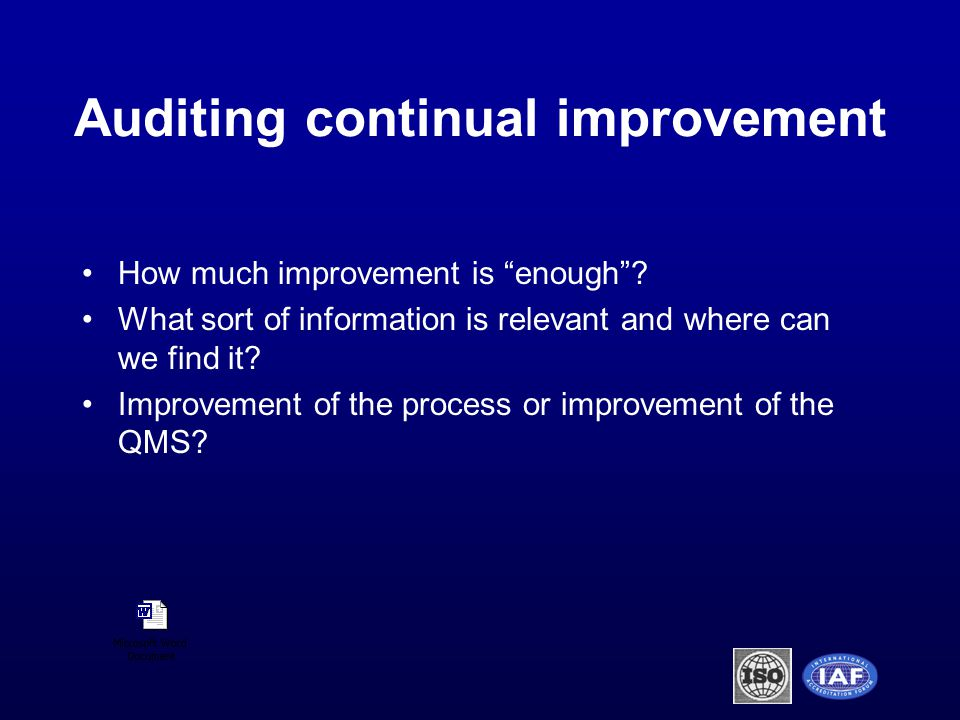 How much improvement is enough . What sort of information is relevant and where can we find it.