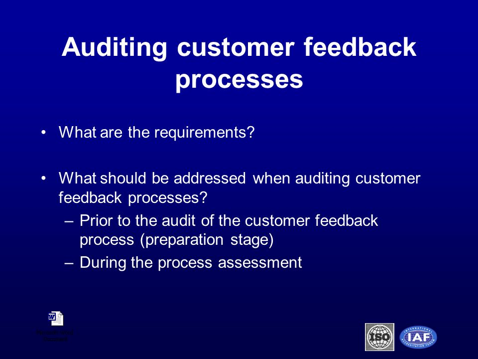 Auditing customer feedback processes What are the requirements.