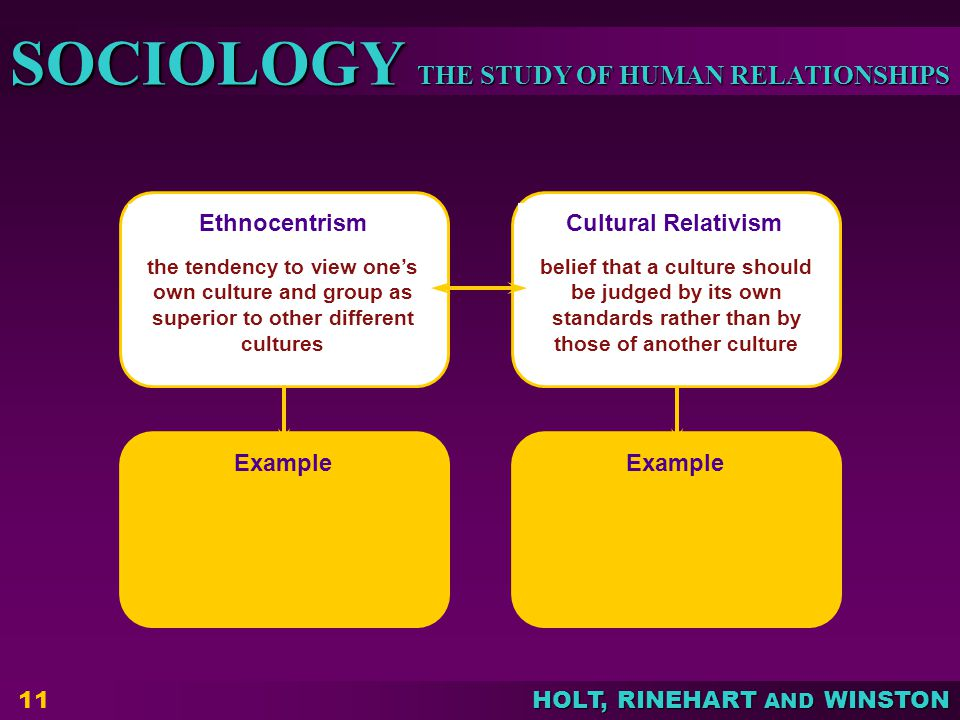THE STUDY OF HUMAN RELATIONSHIPS SOCIOLOGY HOLT, RINEHART AND WINSTON 11 Ethnocentrism Cultural RelativismExample the tendency to view one's own culture and group as superior to other different cultures belief that a culture should be judged by its own standards rather than by those of another culture
