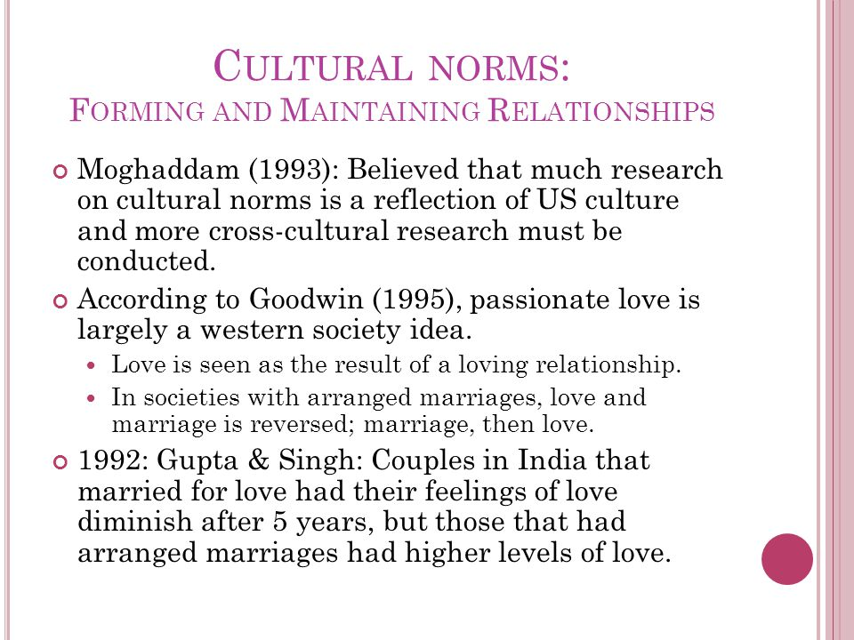 C ULTURAL NORMS : F ORMING AND M AINTAINING R ELATIONSHIPS Moghaddam (1993): Believed that much research on cultural norms is a reflection of US culture and more cross-cultural research must be conducted.