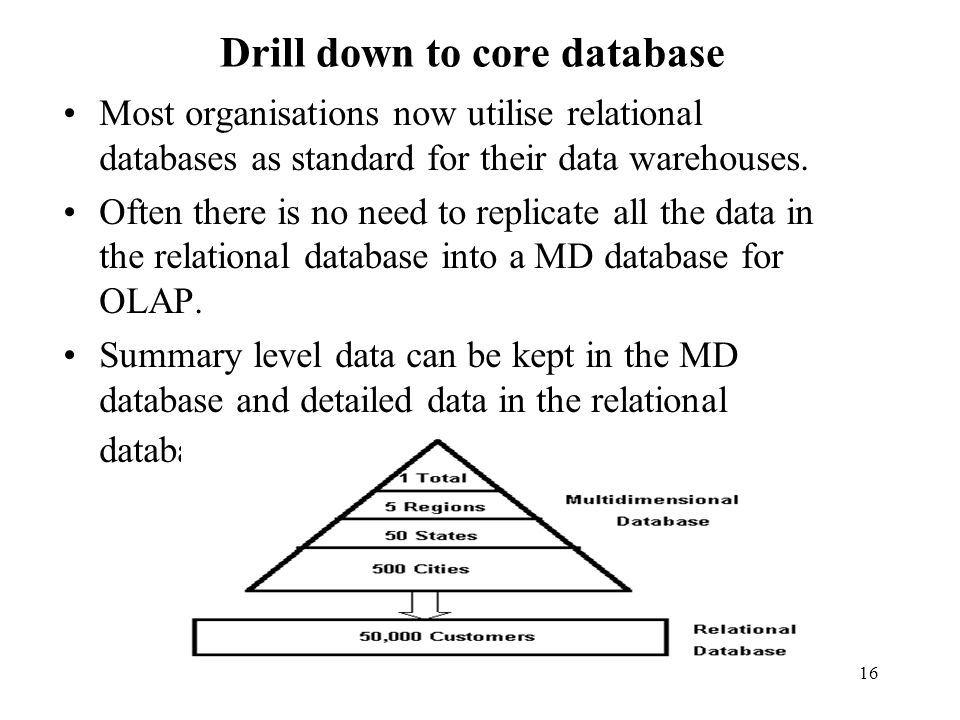 16 Drill down to core database Most organisations now utilise relational databases as standard for their data warehouses.