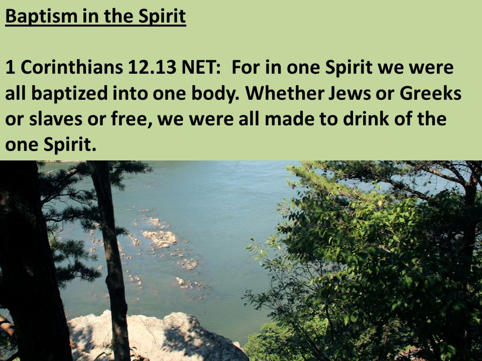 Baptism in the Spirit 1 Corinthians NET: For in one Spirit we were all baptized into one body.