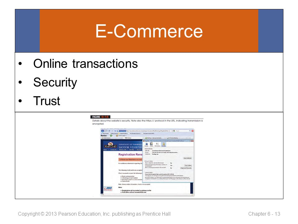 Online transactions Security Trust Copyright © 2013 Pearson Education, Inc.
