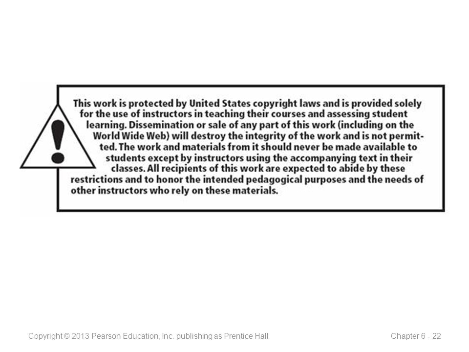 Copyright © 2013 Pearson Education, Inc. publishing as Prentice Hall Chapter 6 - 22