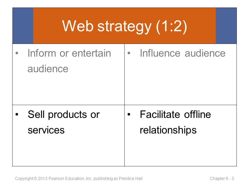 Inform or entertain audience Influence audience Sell products or services Facilitate offline relationships Copyright © 2013 Pearson Education, Inc.