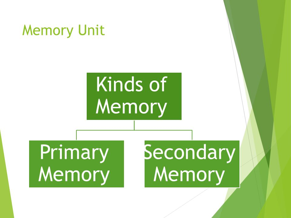 Memory Unit Kinds of Memory Primary Memory Secondary Memory
