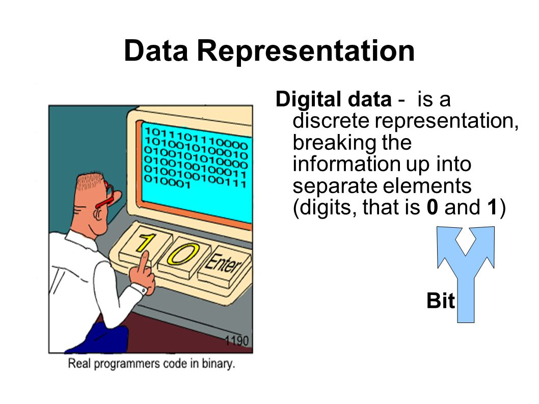 Data Representation Digital data - is a discrete representation, breaking the information up into separate elements (digits, that is 0 and 1) Bit