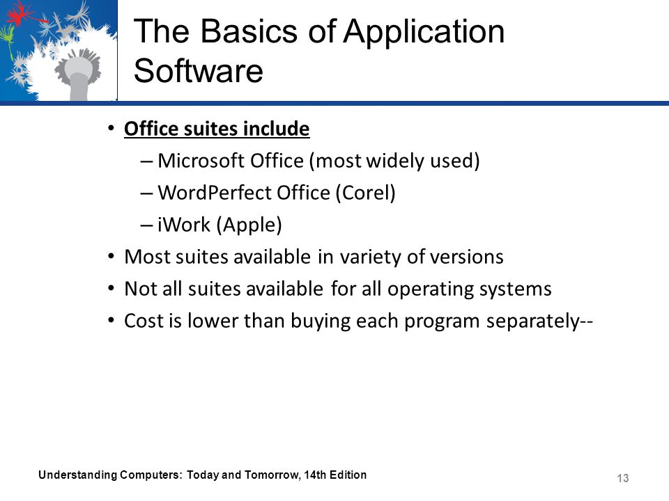 The Basics of Application Software Office suites include – Microsoft Office (most widely used) – WordPerfect Office (Corel) – iWork (Apple) Most suites available in variety of versions Not all suites available for all operating systems Cost is lower than buying each program separately-- Understanding Computers: Today and Tomorrow, 14th Edition 13
