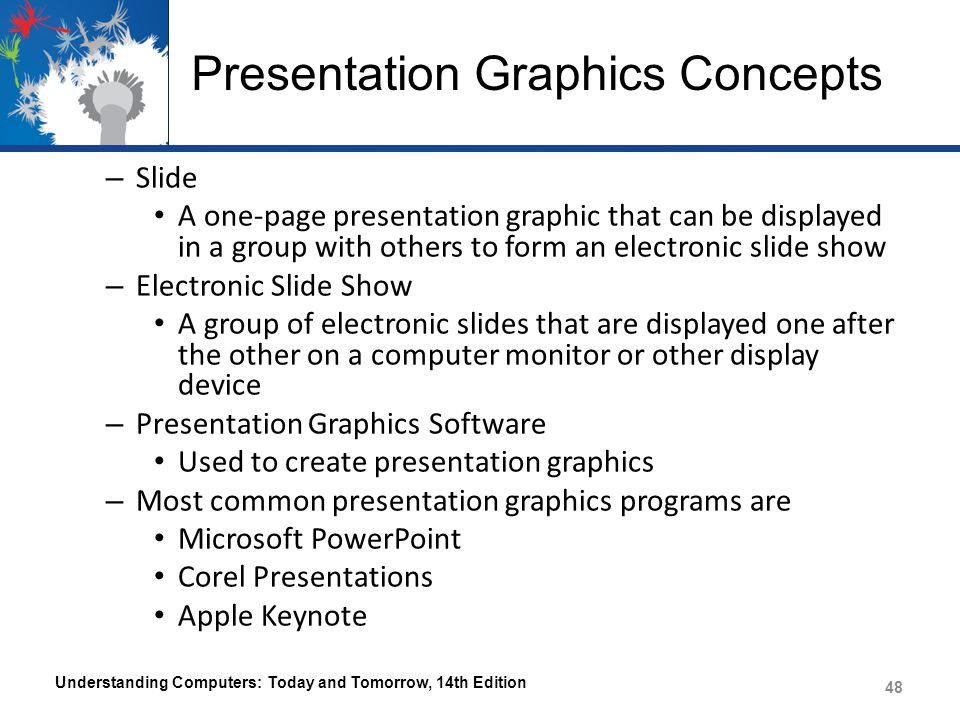Presentation Graphics Concepts – Slide A one-page presentation graphic that can be displayed in a group with others to form an electronic slide show – Electronic Slide Show A group of electronic slides that are displayed one after the other on a computer monitor or other display device – Presentation Graphics Software Used to create presentation graphics – Most common presentation graphics programs are Microsoft PowerPoint Corel Presentations Apple Keynote Understanding Computers: Today and Tomorrow, 14th Edition 48
