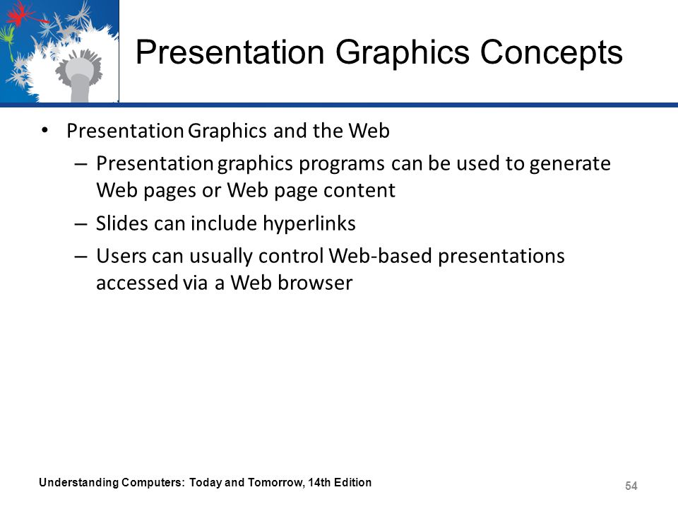 Presentation Graphics Concepts Presentation Graphics and the Web – Presentation graphics programs can be used to generate Web pages or Web page content – Slides can include hyperlinks – Users can usually control Web-based presentations accessed via a Web browser Understanding Computers: Today and Tomorrow, 14th Edition 54