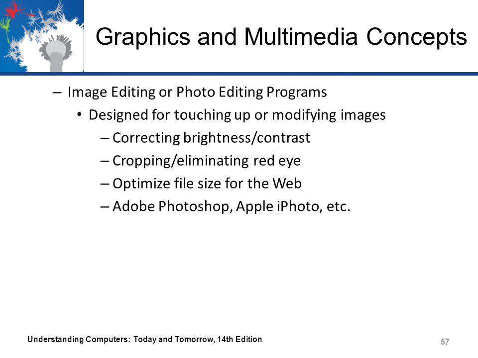 Graphics and Multimedia Concepts – Image Editing or Photo Editing Programs Designed for touching up or modifying images – Correcting brightness/contrast – Cropping/eliminating red eye – Optimize file size for the Web – Adobe Photoshop, Apple iPhoto, etc.