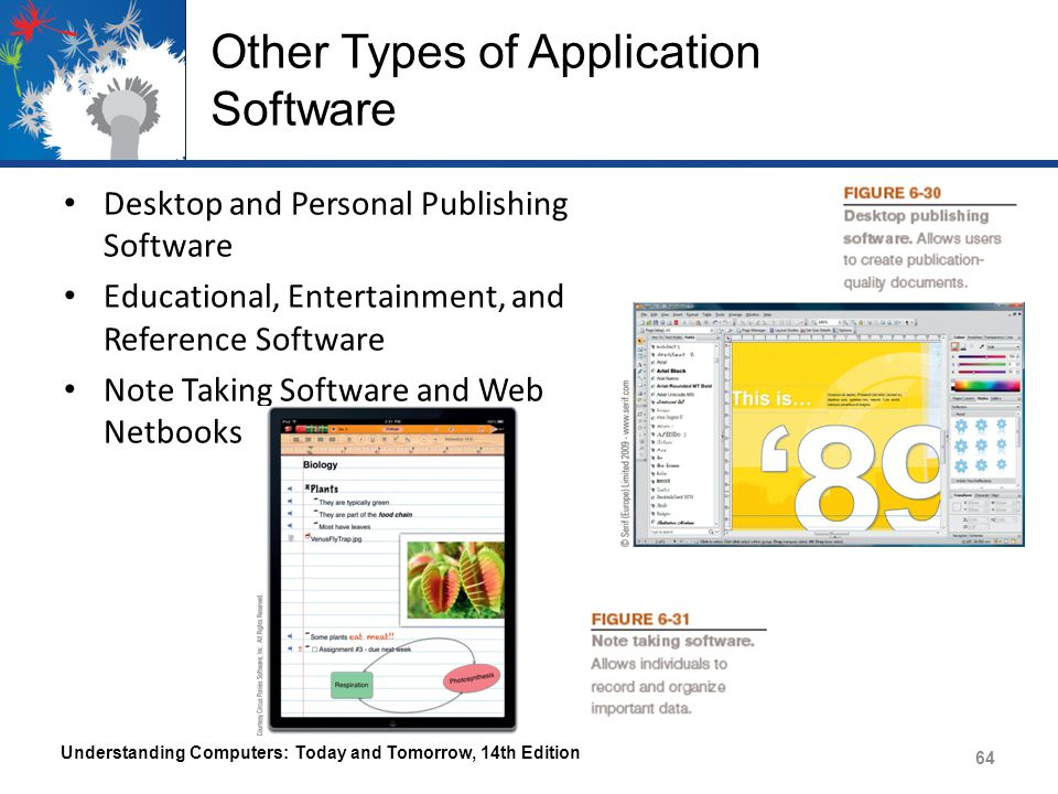 Other Types of Application Software Desktop and Personal Publishing Software Educational, Entertainment, and Reference Software Note Taking Software and Web Netbooks Understanding Computers: Today and Tomorrow, 14th Edition 64