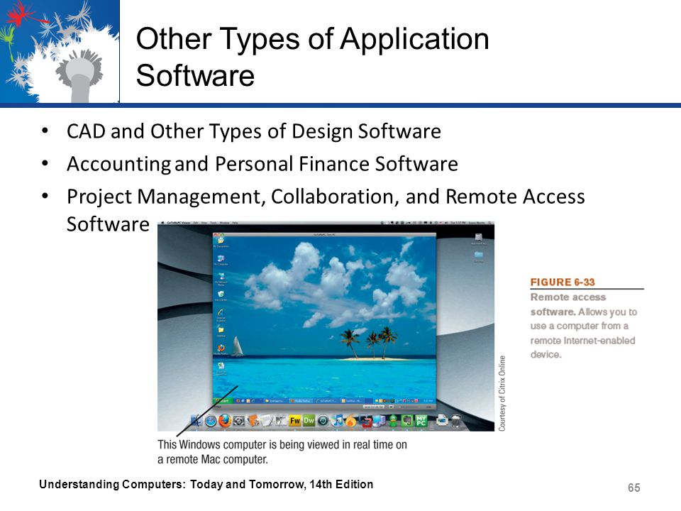 Other Types of Application Software CAD and Other Types of Design Software Accounting and Personal Finance Software Project Management, Collaboration, and Remote Access Software Understanding Computers: Today and Tomorrow, 14th Edition 65