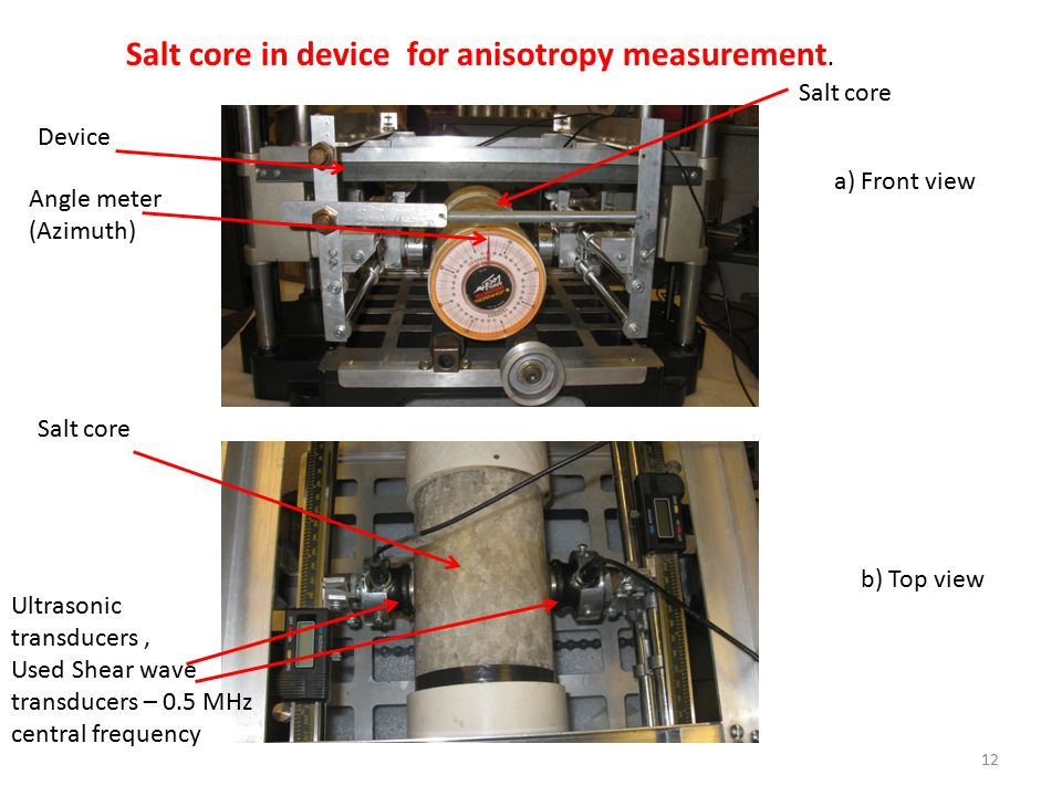 Salt core in device for anisotropy measurement.