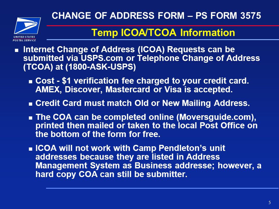 5 Temp ICOA/TCOA Information N Internet Change Of Address (ICOA) Requests  Can  Free Change Of Address Form Online
