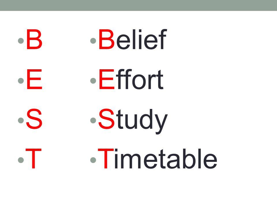 B E S T Belief Effort Study Timetable B E S T Belief Effort Study