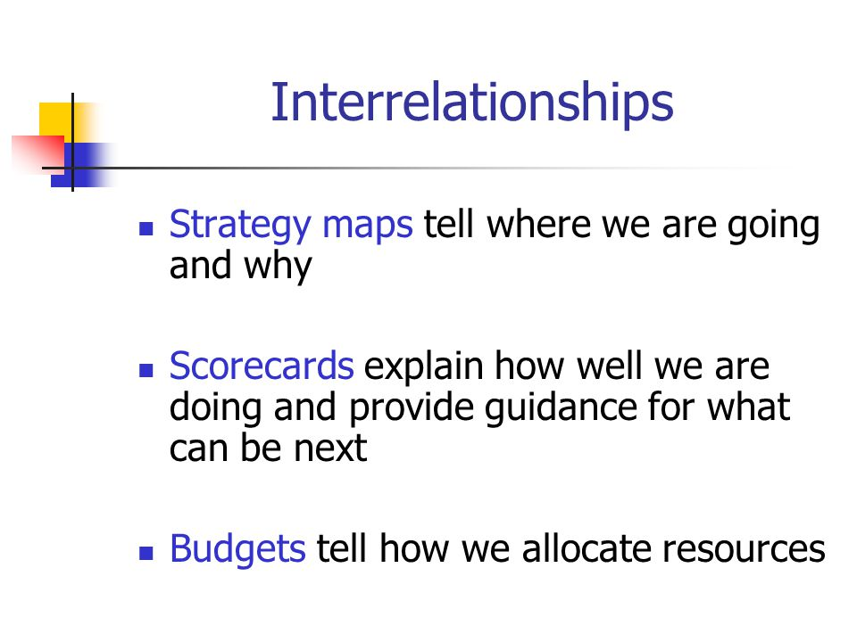 Interrelationships Strategy maps tell where we are going and why Scorecards explain how well we are doing and provide guidance for what can be next Budgets tell how we allocate resources