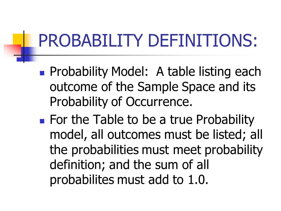 PROBABILITY DEFINITIONS: Probability Model: A table listing each outcome of the Sample Space and its Probability of Occurrence.
