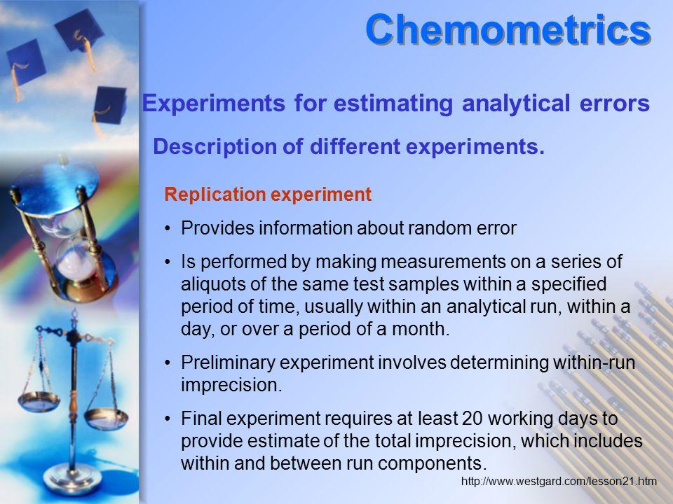 Description of different experiments.