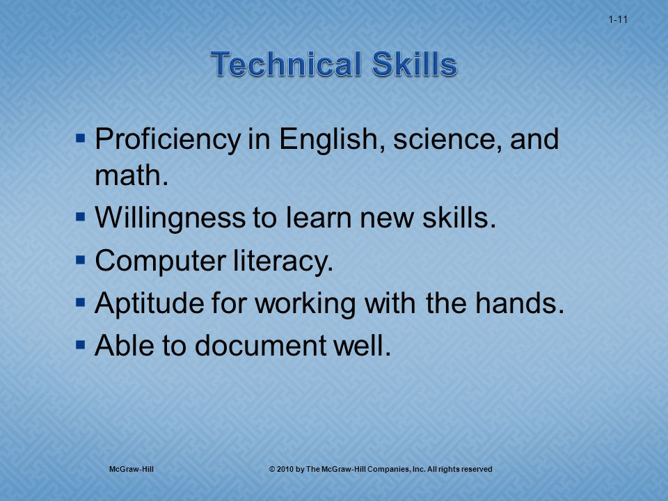  Proficiency in English, science, and math.  Willingness to learn new skills.