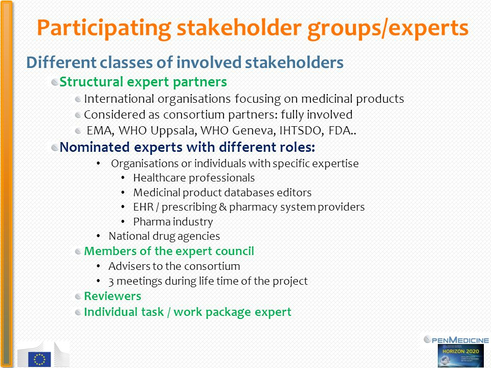 PHC Participating stakeholder groups/experts Different classes of involved stakeholders Structural expert partners International organisations focusing on medicinal products Considered as consortium partners: fully involved EMA, WHO Uppsala, WHO Geneva, IHTSDO, FDA..