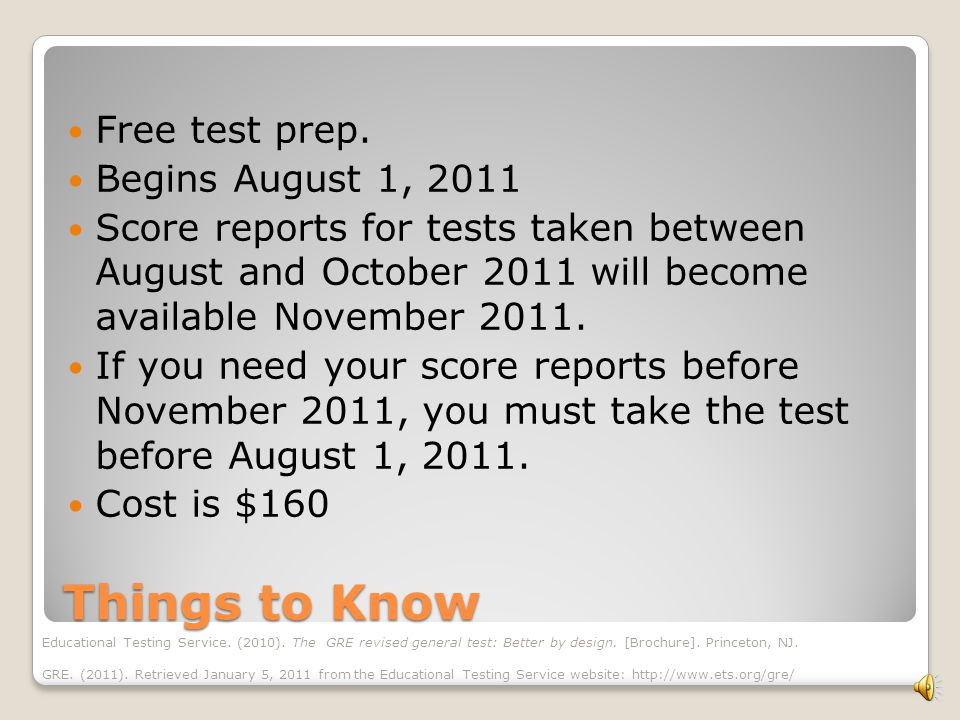 Scoring Changes 5 year score validity Change in point increments New scoring scale Educational Testing Service.