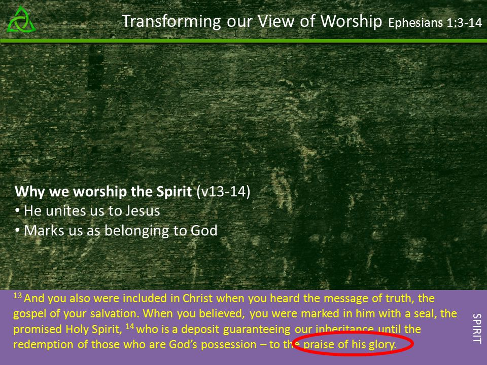 Transforming our View of Worship Ephesians 1: And you also were included in Christ when you heard the message of truth, the gospel of your salvation.