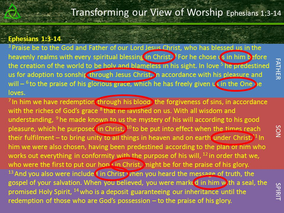 Transforming our View of Worship Ephesians 1:3-14 Ephesians 1: Praise be to the God and Father of our Lord Jesus Christ, who has blessed us in the heavenly realms with every spiritual blessing in Christ.