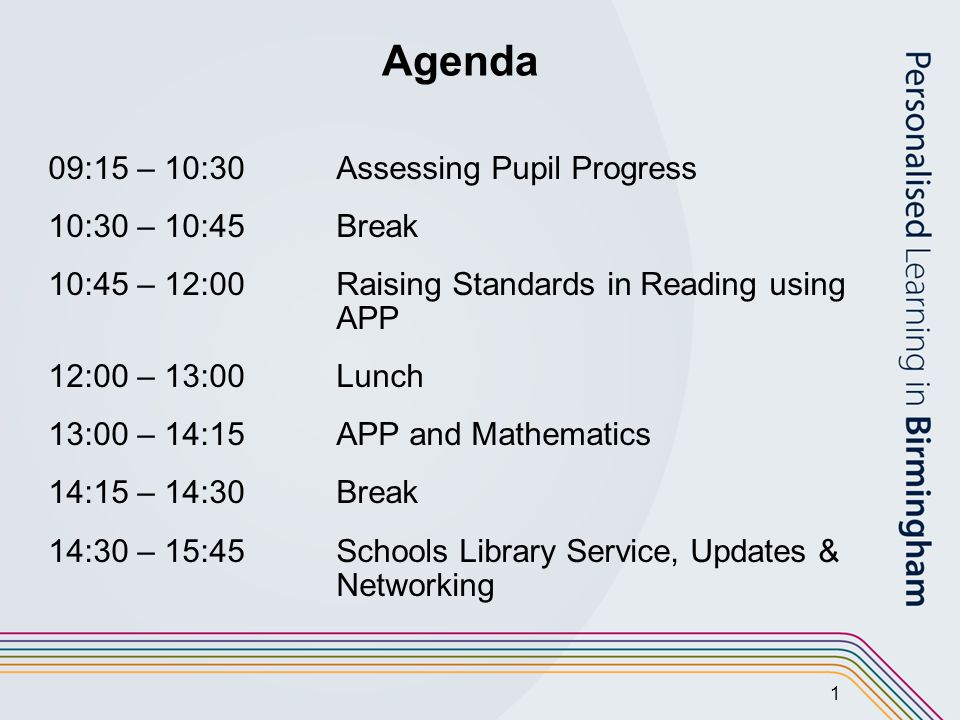 1 Agenda 09:15 – 10:30 Assessing Pupil Progress 10:30 – 10:45 Break 10:45 – 12:00Raising Standards in Reading using APP 12:00 – 13:00Lunch 13:00 – 14:15APP and Mathematics 14:15 – 14:30Break 14:30 – 15:45Schools Library Service, Updates & Networking
