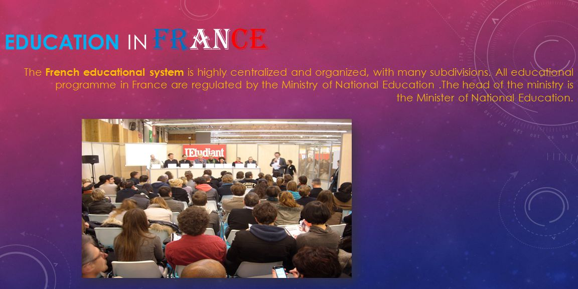EDUCATION IN FRANCE The French educational system is highly centralized and organized, with many subdivisions.