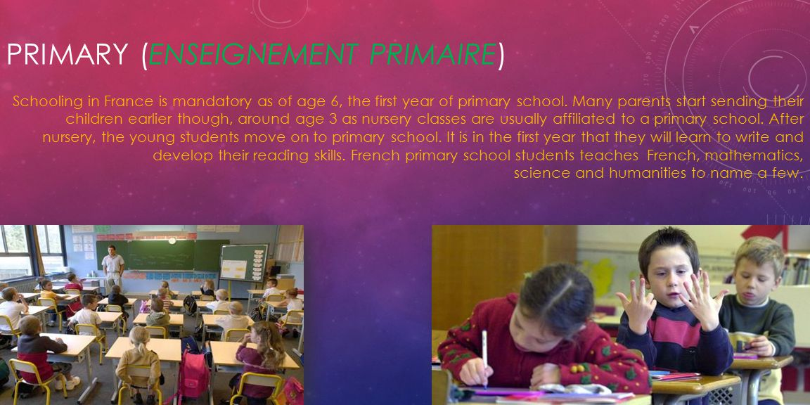 PRIMARY (ENSEIGNEMENT PRIMAIRE) Schooling in France is mandatory as of age 6, the first year of primary school.