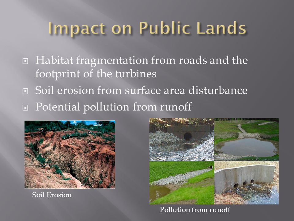  Habitat fragmentation from roads and the footprint of the turbines  Soil erosion from surface area disturbance  Potential pollution from runoff Soil Erosion Pollution from runoff