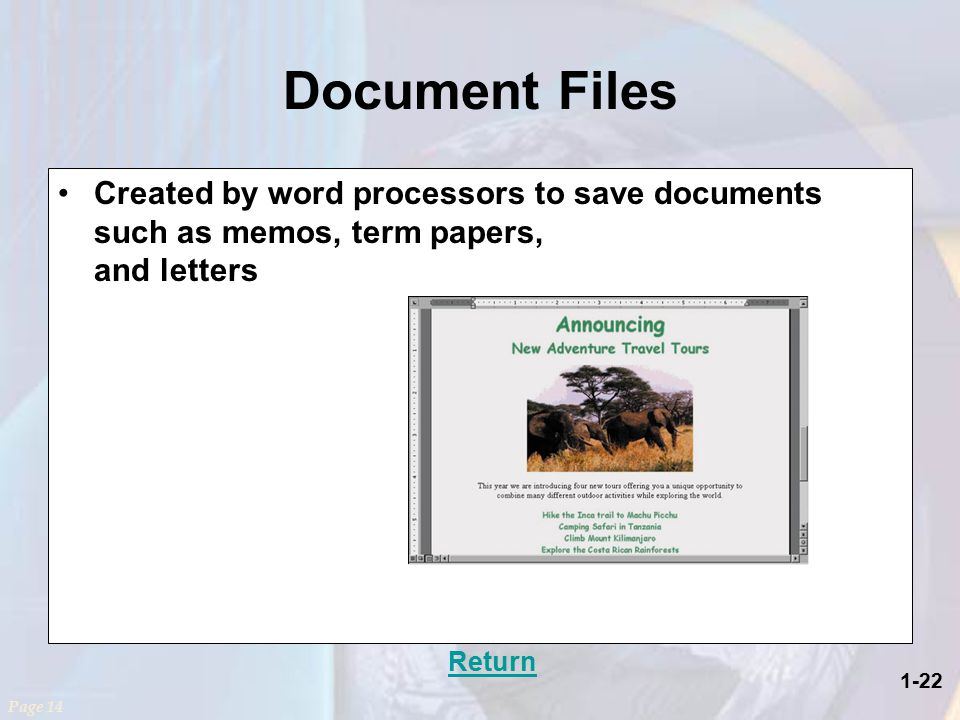 1-22 Document Files Created by word processors to save documents such as memos, term papers, and letters Return Page 14