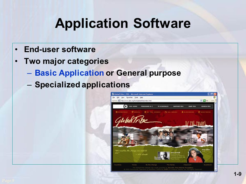 1-9 Application Software End-user software Two major categories –Basic Application or General purpose –Specialized applications Page 9