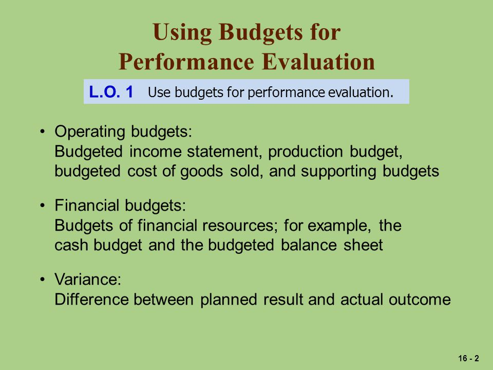 Using Budgets for Performance Evaluation L.O. 1 Use budgets for performance evaluation.