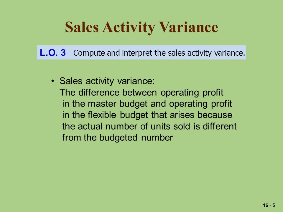 Sales Activity Variance L.O. 3 Compute and interpret the sales activity variance.