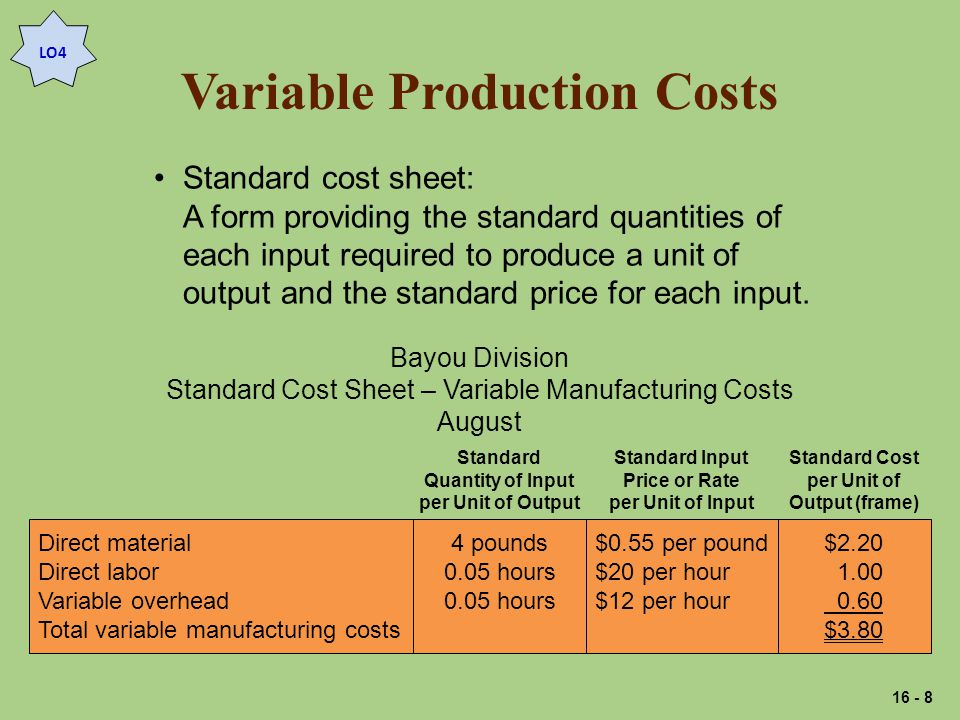 Variable Production Costs LO4 Standard cost sheet: A form providing the standard quantities of each input required to produce a unit of output and the standard price for each input.
