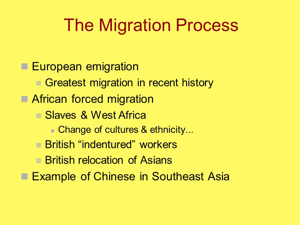 The Migration Process European emigration Greatest migration in recent history African forced migration Slaves & West Africa Change of cultures & ethnicity...