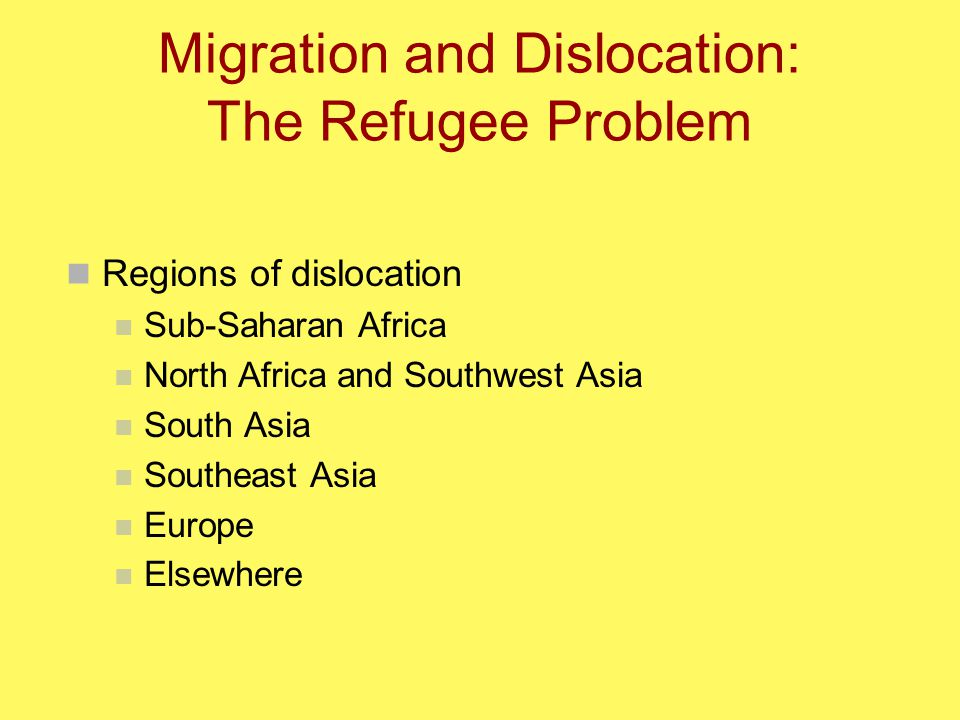 Migration and Dislocation: The Refugee Problem Regions of dislocation Sub-Saharan Africa North Africa and Southwest Asia South Asia Southeast Asia Europe Elsewhere