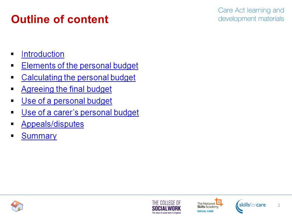 personal budget outlines