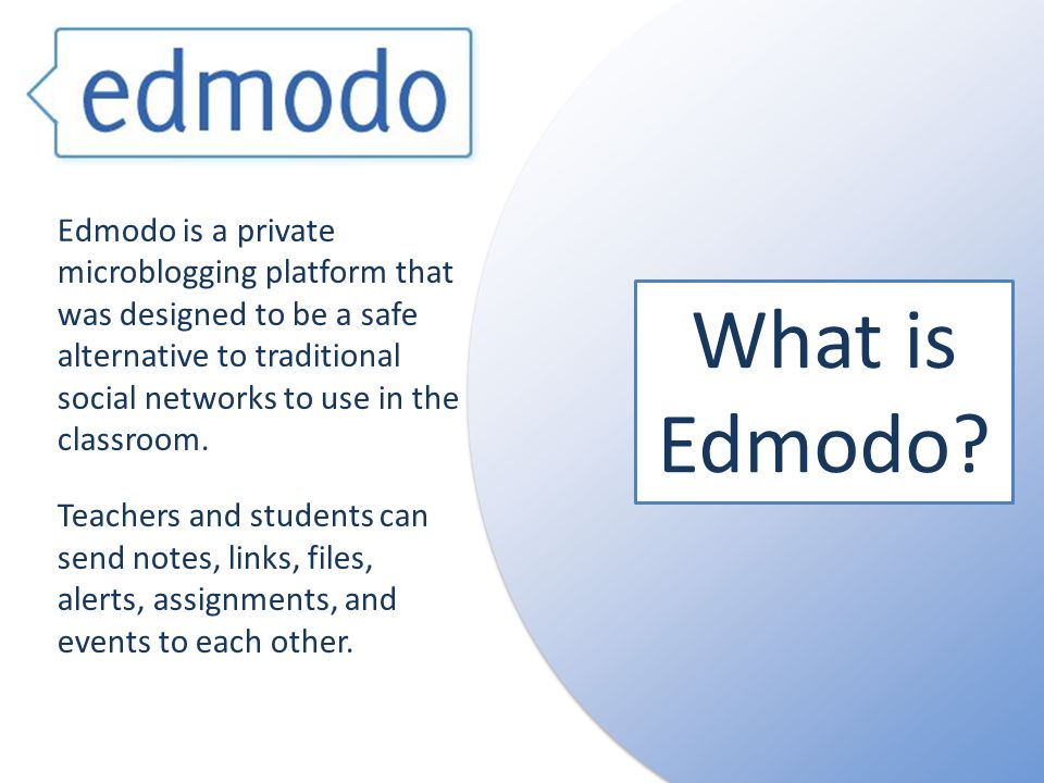 Edmodo is a private microblogging platform that was designed to be a safe alternative to traditional social networks to use in the classroom.
